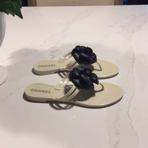 CHANEL Shoes - CHANEL White Jelly Ivory Camellia Sandals